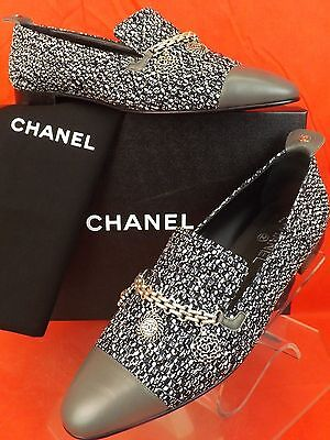 NIB CHANEL TWEED SILVER CHARMS COINS CHAIN GRAY LEATHER CAP TOE LOAFERS 41