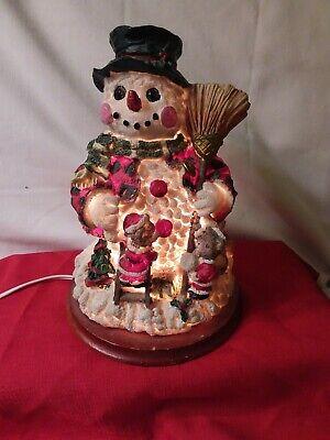 VINTAGE SNOWMAN WITH HIS LITTLE FRIENDS LAMP/NIGHT LIGHT* UNIQUE