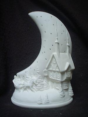 "E524 -8 3/4""Tall  Ceramic Bisque Moon Village, Horse Scene Night Light - U Paint"