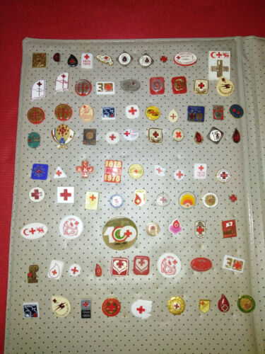 Lot Of 107 pcs Different RED CROSS Pin Badge