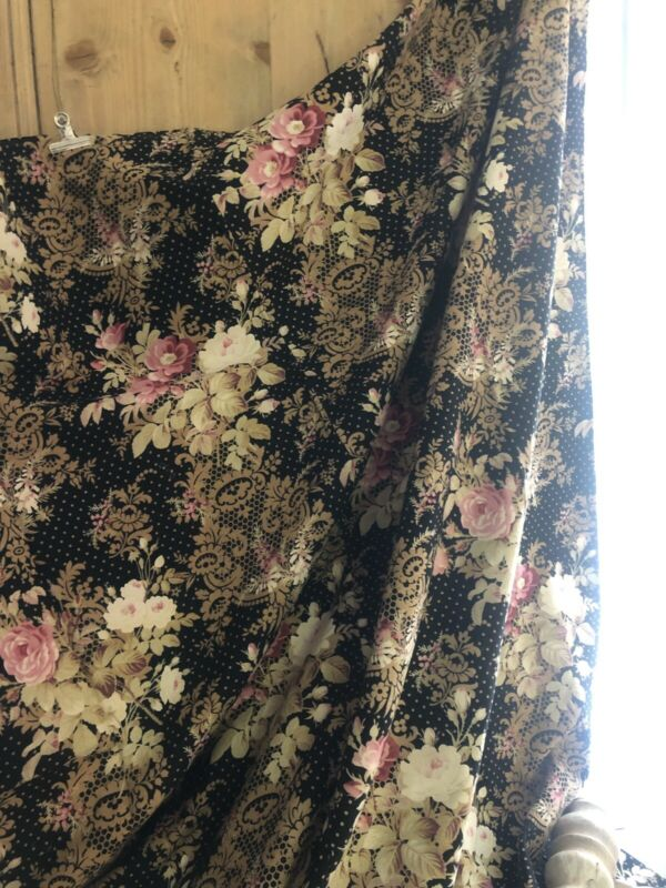 Vintage French LONG twill cotton CURTAIN panel BLACK GOLD floral design c1930