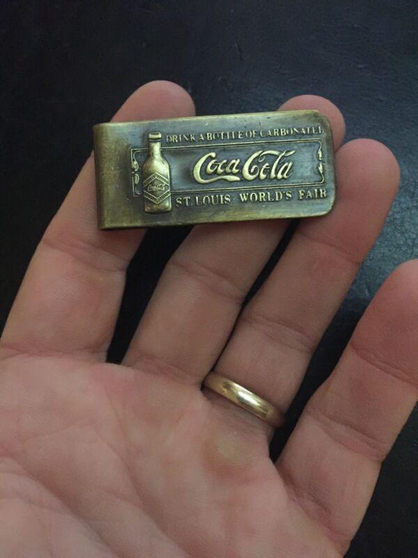Coca Cola Solid Metal Money Clip Brass Finish Pepsi 7Up Mountain Dew Cash Dollar