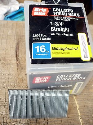 """1 3//4/"""" 16 Gauge Straight Finish Nails 1.75 inch 16 ga case qty of 12 2,500 ct"""