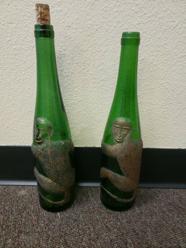 2 Vintage Green Glass Germany European Badenese Gold Monkey Wine Liquor Bottle