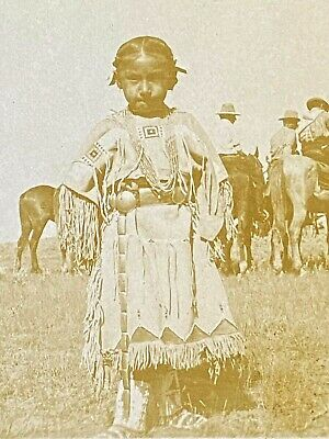 early 1900's RPPC Native American Girl in traditional clothes Historic postcard