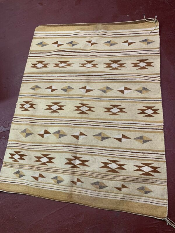 "Antique Navajo RUG 52x39"" Vintage Native American weaving Textile LARGE striped"