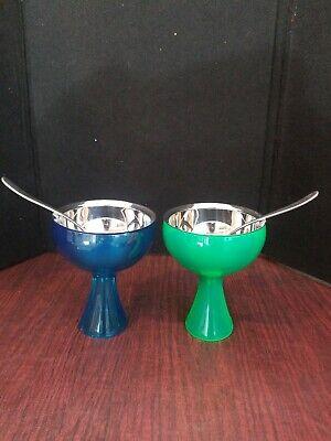 ALESSI 2 Big Love Ice Cream Bowls w/ Love Spoons ~ Blue & Green Big Love Ice Cream Bowl
