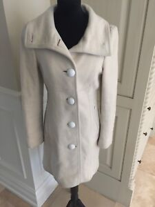 MACKAGE Elle Wool blend leather trim Cream Trench Coat Size XS