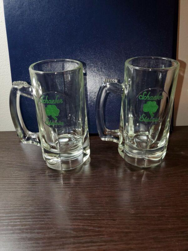 """Vintage Pair of Schaefer """"Slainte"""" Heavy Glass Mugs"""