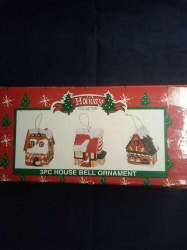 3 PCS. VILLAGE HOUSE BELL ORNAMENTS
