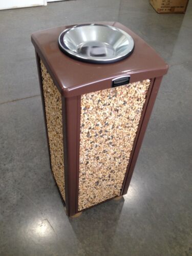 RUBBERMAID LANDMARK STEEL CONTAINER ~ STONE PANELS and SMOKING URN