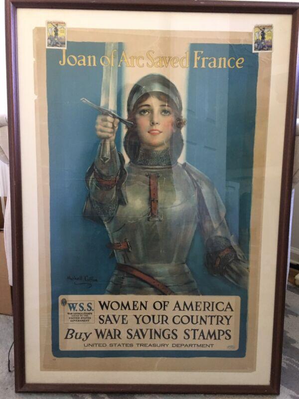 Joan Of Arc Saved France Original WW1 W.S.S. War Poster,Women for America Framed