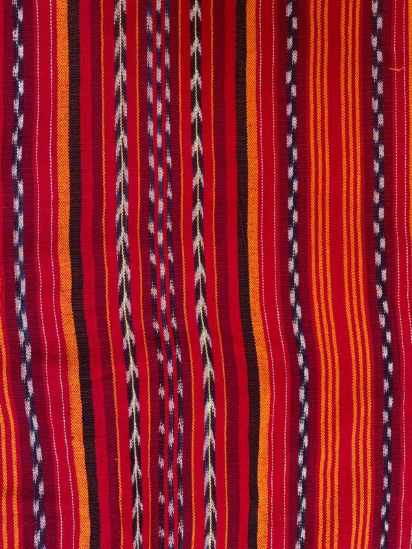 Guatemalan vintage Striped Orange,Red, White And Black Fabric