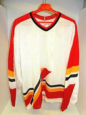 f47b5f5a8 NEW BAUER MENS LARGE POLYESTER ICE HOCKEY JERSEY ~ WHITE - RED - YELLOW -  BLACK