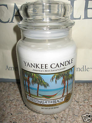 Yankee Candle CHRISTMAS AT THE BEACH Large Jar 22oz Candle HOLIDAY Rare & HTF