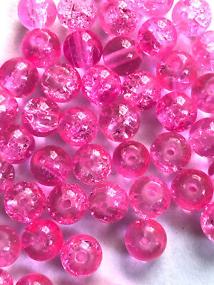 200 PCS 6mm dark pink crack bead glass round spacer beads jewelry crackle 3z