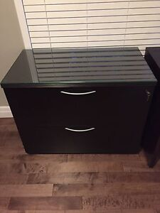 Solid wood 2 drawer filing cabinet with removable glass top