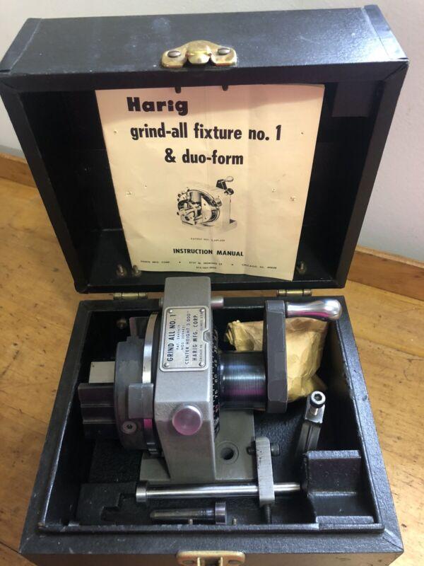 Harig Grind All No. 1 & duo-form w/V-Block & Thru Handle Pin Stop, Case.