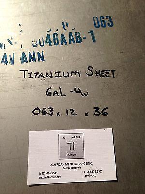 Titanium Sheet 6al-4v .063 X 12 X 36
