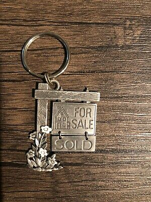 Vintage Realtor Key Chain House for Sale-Sold Metal JJ Brand Fast Free Shipping