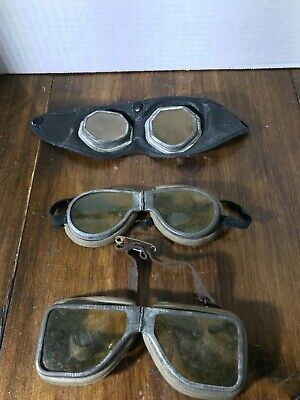 Vintage Motorcycle Pilot Goggles Glasses safety Steampunk Metal lot 3 set
