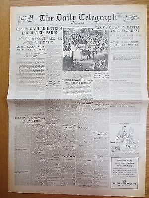 WW2 Wartime Newspaper Daily Telegraph August 26 1944 70th Birthday Paris