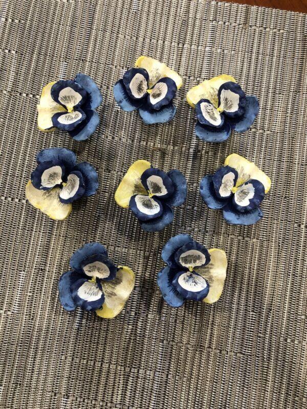 8  Painted Vintage Pansy Flower Shaped Drawer Pulls