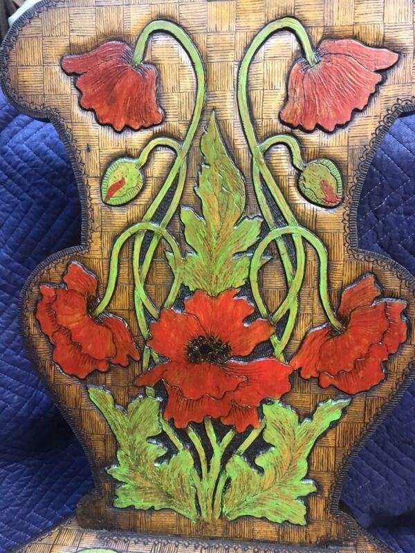 Art Nouveau Poppy Carved Wood Chair European C1900