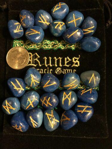 Blue Onyx Runes Set Stones Black Velvet Runes Bag Wicca Pagan Metaphysical 30
