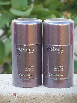 2X Euphoria By Calvin Klein 2 6Oz Deodorant Stick For Men  New