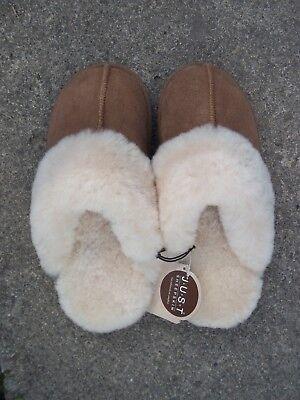 JUST ladies Duchess brown sheepskin mule slippers to fit UK 3-4 BNWT RRP £58