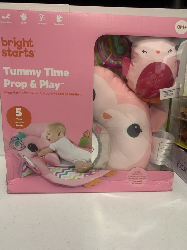 Bright Starts Tummy Time Prop & Play Activity Mat Pink Owl Ages Newborn +