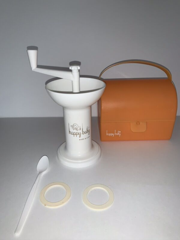 Happy Baby Food Mill Grinder With Orange Carrying Case