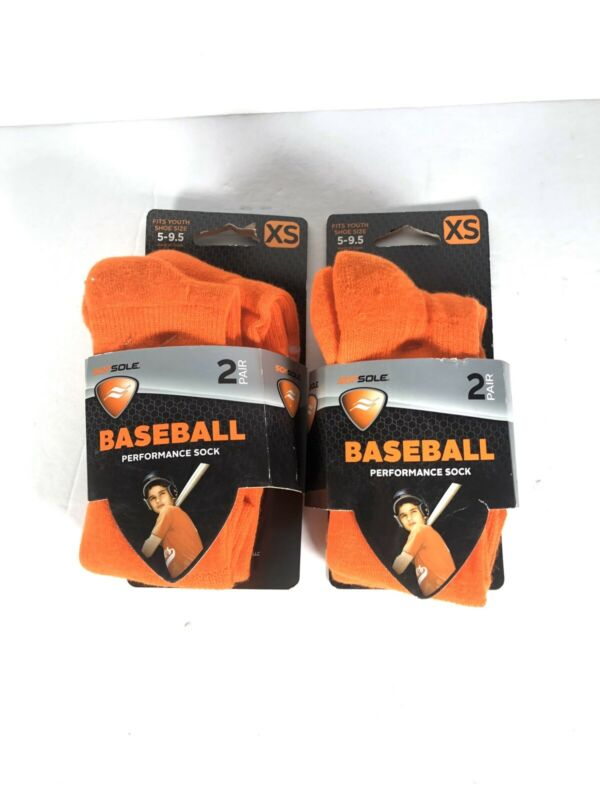 Sofsole Baseball Performance Sock Orange youth size 5-9.5 four pair