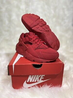 Nike Air Huarache Run Triple Red University Red Size 6y / Womens Size 7.5 Shoes