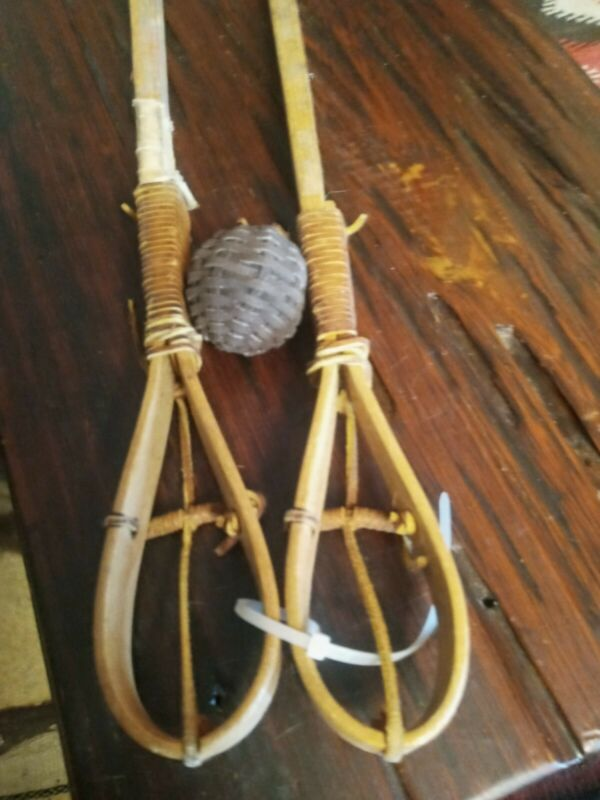 VINTAGE CHOCTAW STICKBALL STICKS ACTUALLY USED! (LACROSSE) ARTIFACTS! WITH BALL!