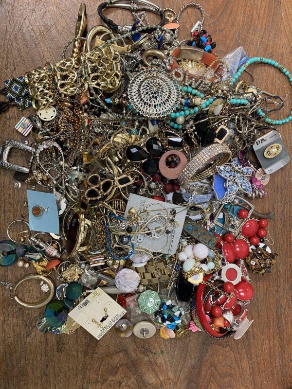 Jewelry Costume Crafts Wear Junk Parts Used 7 Plus Pounds Bulk Box