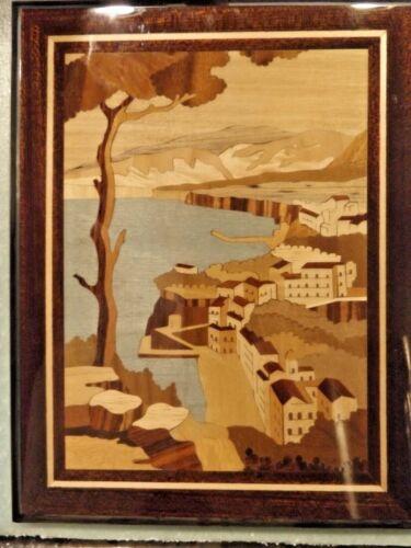 Inlaid Wood Seaside Village Picture Unione Artigiani Intarsio Sorrentino