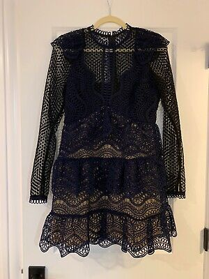 Gorgeous Navy/Black Self Portrait Dress Sz UK 10/US 6 Worn Once!