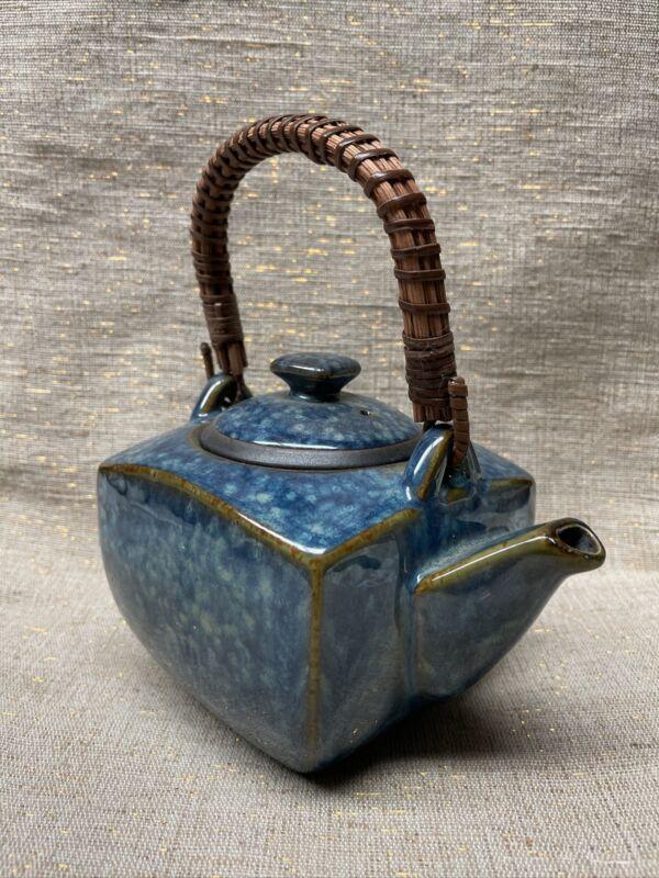 "Vintage Japanese Ceramic Glazed Teapot With Bamboo Handle 3 1/2"" x 4"""