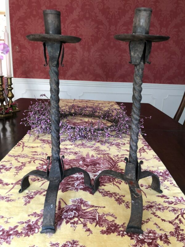 Pair Iron Antique Twist Candlesticks Antique