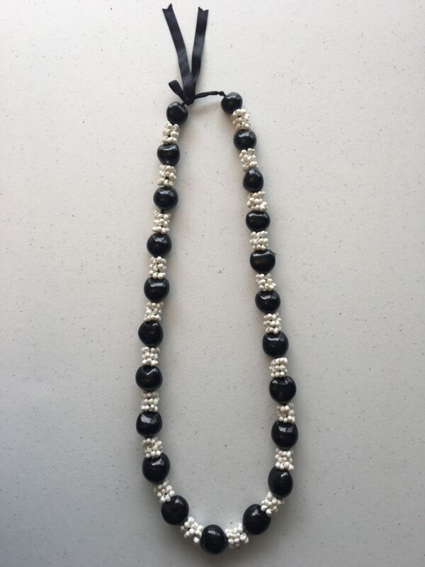 Black Kukui Nut Lei White Mongo Shells Hawaiian Tree Necklace Graduation Wedding