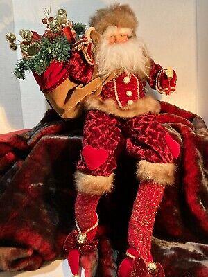 """Large Poseable St Nicholas Santa Figurine Ornate 27"""" tall doll"""