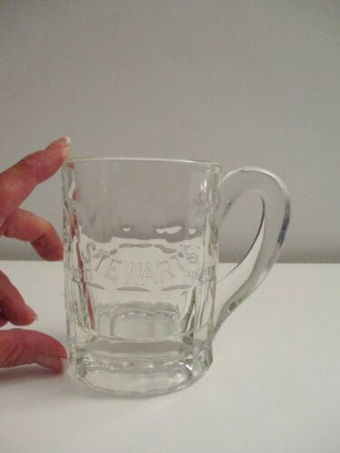 Vintage Stewart's Root Beer Heavy Glass Embossed Logo Mug 1950