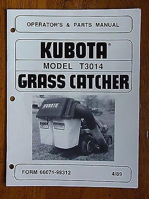 Rare Kubota Lawn Mower T3014 Grass Catcher Original Operator Parts Manual 489