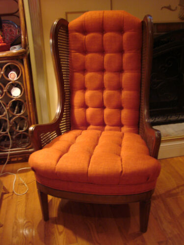 VINTAGE CANE WINGBACK CHAIR - NEW CUSTOM UPHOLSTERY - BEAUTIFUL!- LOCAL PICK-UP!
