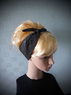Black and white spotted hair scarf, retro 50's style headband, fifties - Fifties Hair