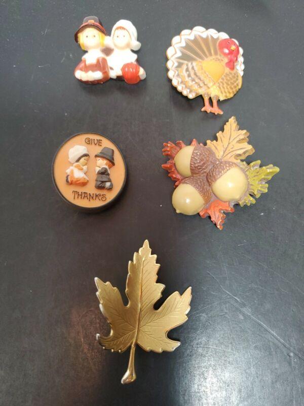 Vintage Fall Thanksgiving Lot of 5 Pins Brooches Pilgrim Turkey Acorns Leaves