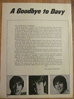The Monkees, Davy Jones, Full Page Vintage Clipping