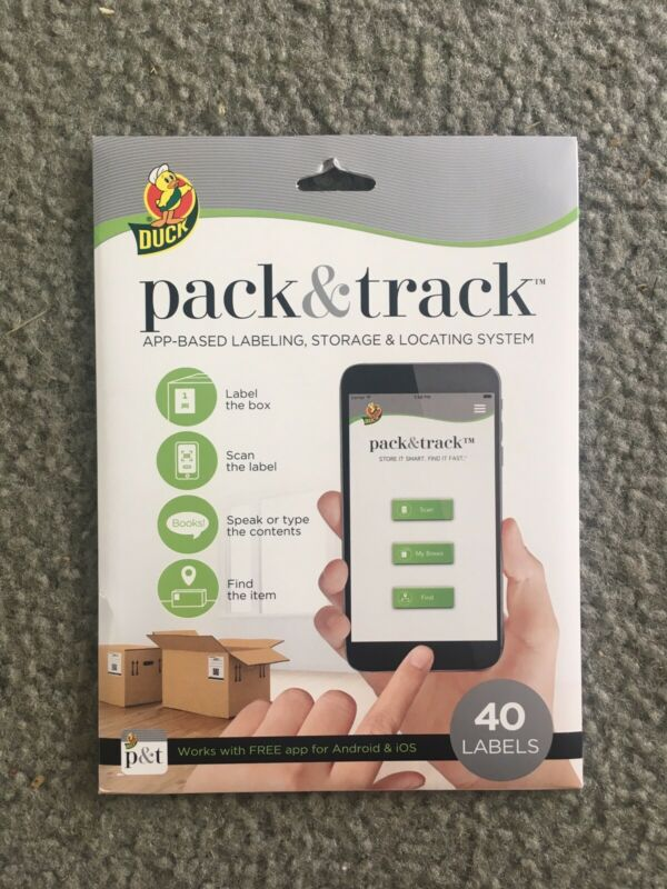 New Duck Pack & Track App Based Labeling Storage Locating System 40 Labels